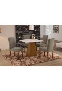 Conjunto De Mesa De Jantar Com 4 Cadeiras E Tampo De Madeira Maciça Turquia I Suede Cinza E Off White