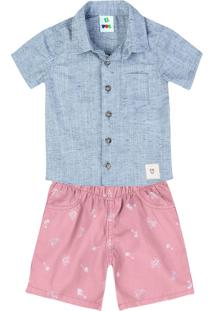 Conjunto Curto Bebê Menino Com Camisa