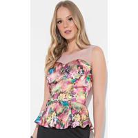 609349c463 Blusa Quintess Floral Rosa Com Recorte Em Tule