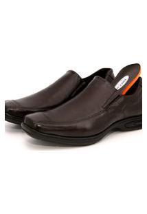 Sapato Social Em Couro Br2 Footwear Conforto Liso Café