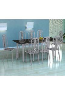 Conjunto De Mesa Córdoba Com 8 Cadeiras Granada Branco Prata E Preto Listrado