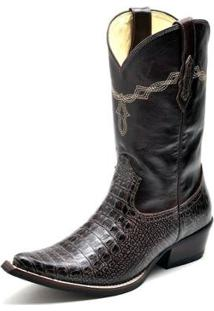 Bota Country Top Franca Shoes Jacaré Masculino - Masculino-Cafe