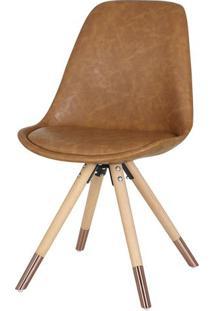 Cadeira Lunes Assento Courino Marrom Com Base Madeira - 46590 - Sun House