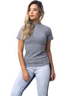 Camiseta Vicbela Gola Alta Cinza - Ref: 053