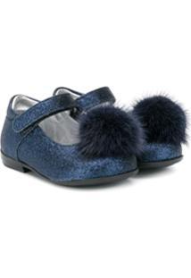 Monnalisa Pom-Pom Glitter Ballerinas - Azul