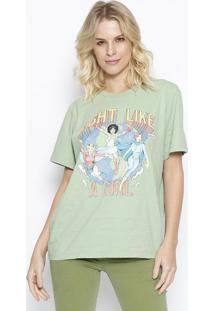 "Camiseta ""Fight Like A Girl"" - Verde & Amarela - Colcolcci"