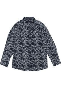 Camisa Yacht Master Folhagem Azul-Marinho