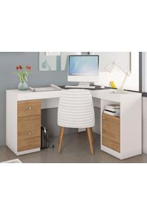 Mesa De Computador 2 Portas Work Branco Fosco/Buriti – Caemmun