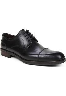 Sapato Social Couro Shoestock Cadarço Masculino - Masculino-Preto