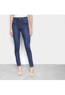 Calça Jeans Skinny Sawary Cinta Interna Super Lipo Cintura Alta Feminina - Feminino-Azul