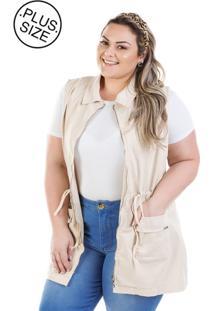 a183bce53 Colete Plus Size - Confidencial Extra Jeans Parka Com Zíper