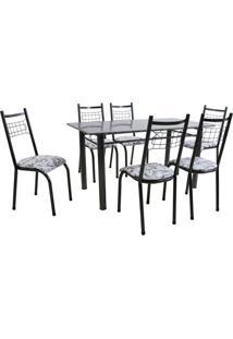 Conjunto De Mesa Granada Com 6 Cadeiras Lisboa Preto Prata E Branco Floral