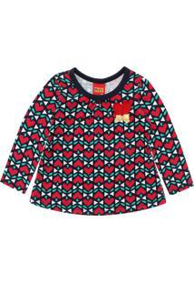 Camiseta Kyly Menina Coração Verde/Vermelho