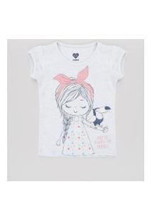 Blusa Infantil Com Tucano E Brilho Manga Curta Cinza Mescla Claro