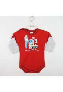 Body Bebê Manga Longa Mesclap - Masculino-Vermelho