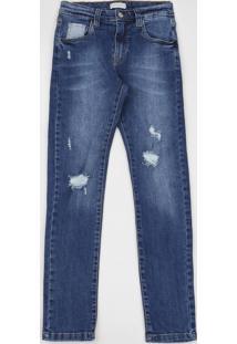 Calça Jeans Juvenil Slim Destroyed Com Bolsos Azul Médio