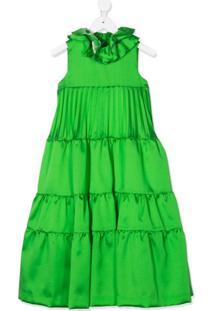 Valmax Kids Vestido De Cetim Com Amarração - Verde