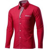 59fb4a280f Camisa Masculina Slim Fit Com Detalhes Listrados Manga Longa - Vermelho  Escuro