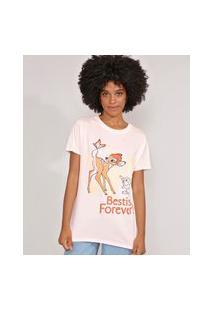Camiseta Bambi E Tambor Manga Curta Decote Redondo Rosa Claro