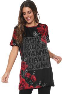Camiseta Lança Perfume Alongada Floral Preta/Vermelha
