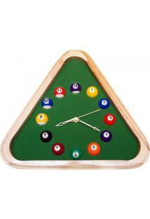 Relógio De Parede Triangular Bilhar - Unissex-Verde