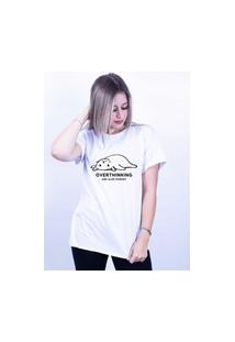 Camiseta Corte A Fio Bilhan Overthinking Gde Branca