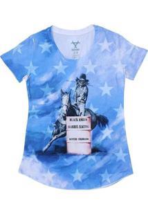 Camiseta Black Angus Manga Curta Feminina - Feminino-Azul