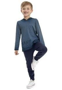 Calça Infantil Moletom Quimby Masculina - Masculino-Azul