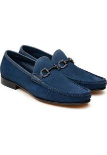 Sapato Social Couro Velour Jacometti Masculino Leve Conforto Preto 42 - Masculino-Azul Royal