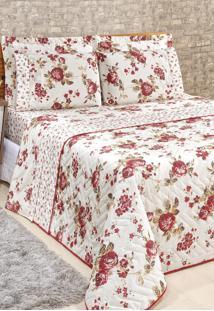 Cobre Leito Casal Rose Jordão Dupla Face Estampado Imperial 3 Peças - Floral Vermelho