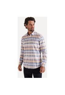 Camisa Ml Listrado Multicor Reserva Azul Marinho