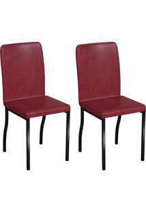 Conjunto Com 2 Cadeiras Napier Vinho E Preto