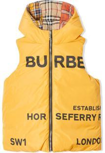 Burberry Kids Colete Dupla Face Horseferry Com Estampa - Amarelo