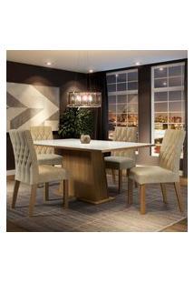 Conjunto Sala De Jantar Madesa Grazi Mesa Tampo De Vidro Com 4 Cadeiras Marrom