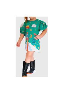 Vestido Ummi Infantil Via Lactea Verde