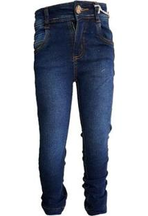 Calça Jeans Slim Menino Lisa Bolsos Dia A Dia Conforto - Masculino-Azul Escuro