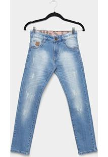 Calça Jeans Infantil Skinny Gangster Estonada Puídos Masculina - Masculino-Azul