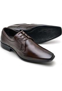 Sapato Social Masculino Em Couro Soft Reta Oposta - Masculino-Marrom