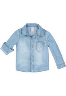 Camisa Jeans Bebê Menino Com Bolso Hering Kids