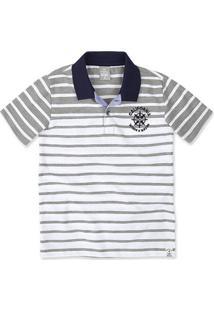 Camisa Polo Infantil Menino Em Fio Tinto Com Bordado Hering Kids 3808a0b73fa0a