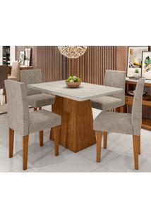 Conjunto De Mesa De Jantar Com Tampo De Vidro Bárbara E 4 Cadeiras Giovana Animalle Off White E Cinza