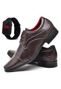 Sapato Social Fashion Com Relógio Led Dubuy 832El Marrom
