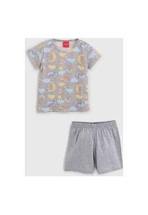Pijama Tricae Curto Infantil Bicho Preguiça Cinza
