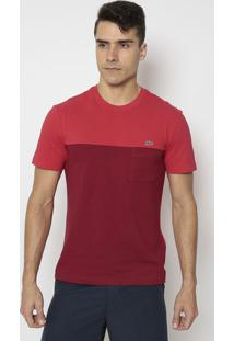Camiseta Regular Fit Com Recorte- Vermelha & Bordôlacoste