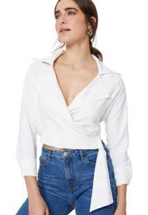 Amaro Feminino Camisa Viscose Gola Blazer Amarração Lateral, Off-White
