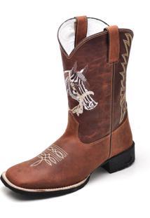 Bota Texana Bico Quadrado Em Couro Gaspariano Calçados Marrom