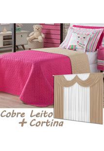 Kit Dourados Enxovais Combo Cobre Leito Cortina Lhama Pink Dupla Face C/ Almofada Solteiro 05 Peças