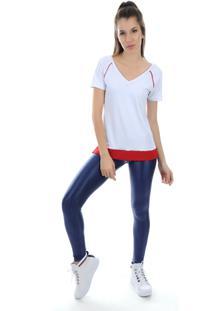 Camiseta Manga Curta Pinyx Shine Branco E Vermelho - Kanui