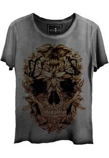 Camiseta Feminina Estonada Corte A Fio Skull Beautiful