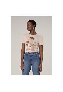 Camiseta Manga Curta Com Estampa - Rosa